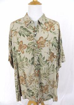 Tori Richard Hawaiian Shirt 5XB Big & Tall Brown Floral Fern Hibiscus 5XL Aloha #ToriRichard #Hawaiian