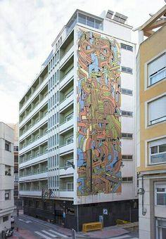ARYZ Mural In Madrid Spain Graffiti Art Street Art Urban Art - Building in berlin gets transformed by amazing 137 foot tall starling mural