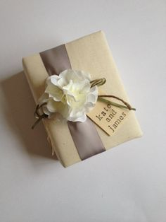 Personalized Wedding Album - White Hydrangeas, Dove Gray Ribbon, Sage Green Ribbon and Rope Bow, Hand Stamped Wood Tag with Bride and Groom's Names - by Couture Life