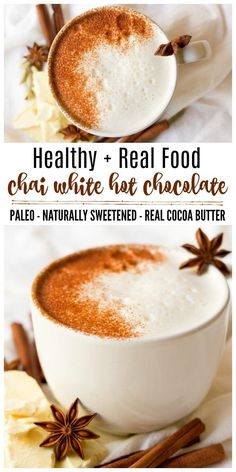 (ad) This healthy Chai White Hot Chocolate is the real deal. You won't find any white chocolate chips in this rich, spiced warming drink, only real foodingredients. It's naturally sweetened, Paleo-friendly and an extra special drink to sip on during the colder months. | Recipes to Nourish // Holiday Drinks | Gluten Free | Dairy Free via @recipes2nourish