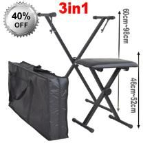 Musicians Stool Keyboard Stand and Carry Bag - Stool - Portable Carry Bag - X Braced Keyboard Stand