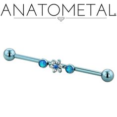 "1 5/6"", 14ga Gemmed Industrial Bar w/Threaded Flower and Threaded Bezel-set Gem Ends in ASTM F-136 titanium, anodized light blue; synthetic Opal #6, CZ, Arctic Blue CZ gemstones"