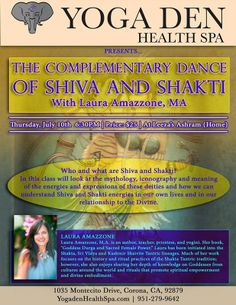 Corona, CA Who and what are Shiva and Shakti? In this class will look at the mythology, iconography and meaning of the energies and expressions of these deities and how we can understand Shiva and Shakti ene… Click flyer for more