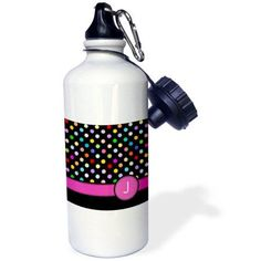 3dRose Letter J monogrammed on rainbow polka dots pattern with hot pink personal initial - girly multicolor, Sports Water Bottle, 21oz