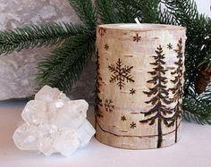 Winter Wonderland  -  Birch Tealight Holders - Wood burning