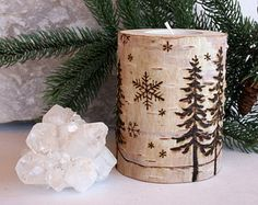 Winter Wonderland  -  Birch Tealight Holders - Wood burning