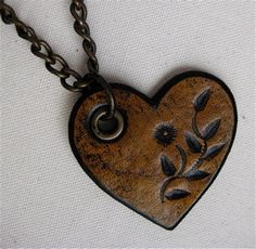 Golden Yellow Tooled Flower Heart Detachable and Interchangable Pendant Karen Kell Collection