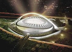 Modern Architecture Design And Construction Of Unique Big Arch In Durban Stadium For World Cup 2010 ( great architecture stadium ) Soccer Stadium, Football Stadiums, Fifa Football, Beautiful Places To Visit, Great Places, Places To Go, Modern Architecture Design, Roof Architecture, Stadium Architecture