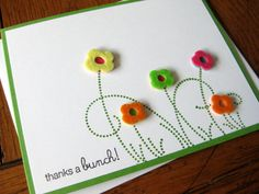 Thanks a Bunch with Bright Felt Flowers - Handstamped Greeting Card. $4.25, via Etsy.