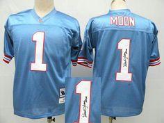 Tennessee Titans 1# Warren Moon Blue Throwback Jersey(Signed Elite) Tennessee Titans Jersey