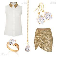 Paetê, dourado e pedras nos brincos, no colar com pingente e também no anel!  #look #brilho #pedra #joias #brincos #pingente #anel #ouro