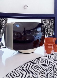 interior and tv in pierre cardin's floating pod