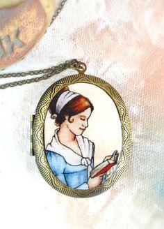 Elizabeth Reading -- Pride and Prejudice Locket, Literary Art Locket | Sarah-Lambert Cook