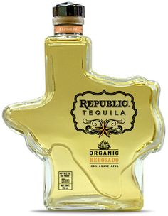 Republic Tequila in Texas shaped bottle, created in honor of the Lone Star State. Rum Bottle, Tequila Bottles, Alcohol Bottles, Liquor Bottles, Whiskey Bottle, Sipping Tequila, Tequila Drinks, Alcoholic Drinks, Cocktails