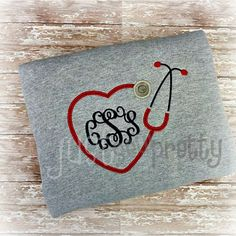 Monogram Heart Stethoscope Embroidery Applique by justsewpretty,