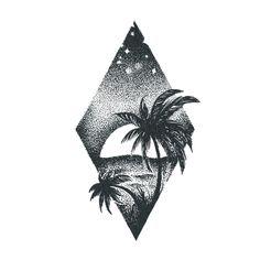 Sunset Tattoos, Palm Tattoos, Mini Tattoos, Tatoos, Mini Palm Tree, Palm Tree Sunset, Palm Trees, Surf Mar, Natur Tattoos