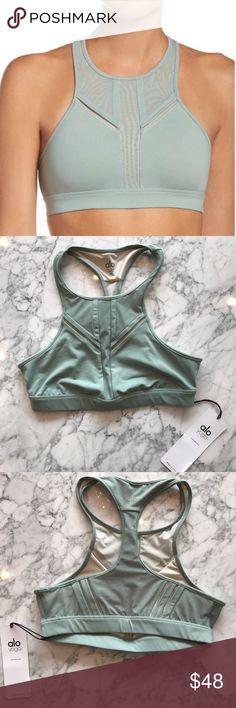 Alo Half Moon Bra BNWT sage, looks super cute layered under the sage Acme top! ALO Yoga Intimates & Sleepwear Bras