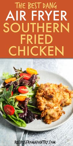 This Easy Air Fryer Fried Chicken recipe can also be made easily in the oven or stovetop. Southern Fried Chicken is healthier than traditional deep-fried chicken and is soooo much better than fast food or restaurants. Chicken thighs are soaked in buttermilk for tender juicy yet crispy Southern Buttermilk chicken. Click through to get the best Air Fryer Chicken recipe!! #airfryer #airfryerrecipes #buttermilkchicken #friedchicken #airfryerfriedchickenrecipe #southernrecipe  #southernchicken Easy Potluck Recipes, Air Fryer Dinner Recipes, Air Fryer Recipes Easy, Easy Meals, Healthy Recipes, Buttermilk Fried Chicken, Fried Chicken Recipes, Air Fryer Fried Chicken, Air Fryer Southern Fried Chicken Recipe