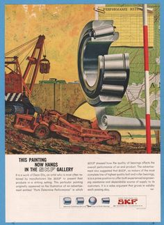 1959 SKF Bearings Construction Work Site Dean Ellis ART AD | eBay