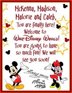 A welcome letter from your child's favorite Disney character! Have ...