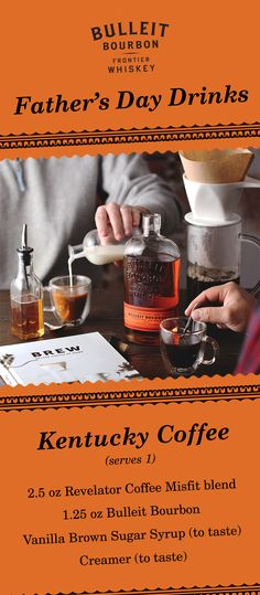This Father's Day, give your dad the gift of Bulleit and coffee. With the Misfit blend from Revelator Coffee, Bulleit Bourbon, vanilla brown sugar syrup, and creamer—the Kentucky Coffee is a delicious cocktail for whiskey and coffee lovers alike. This combination of coffee and whiskey creates the ideal holiday cocktail and the perfect family tradition.