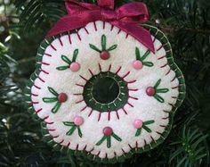 Wool Felt Embroidered Wreath Ornament Hanger
