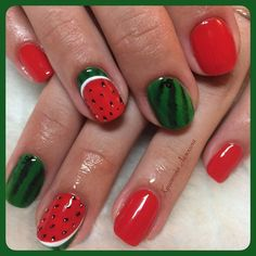 Beautiful nails 2016, Beautiful summer nails, Bright shellac, Bright summer nails, Delicious nails, Fruit nails, Manicure by summer dress, Nails by green dress