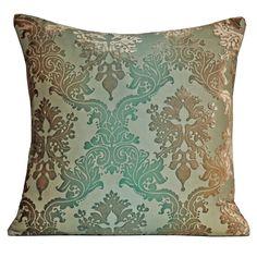 Kevin O'Brien Studio hand painted silk velvet Brocade pillow in antique colorway.