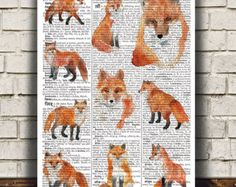 Animal print Dictionary art Fox poster Wildlife by OneDictionary