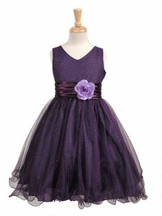 Purple Glittered Poly Mesh w/ Matching Charmeuse Waist & Flower.... wondet if I could change the flower
