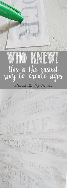 Wood Projects Who-Knew!--This-is-the-EASIEST-way-to-make-signs - Learn how to make a sign the easy way! Who Knew - transfer your words easily onto wood. I made a family rules sign, but the skies the limit with this. Diy Projects To Try, Crafts To Make, Arts And Crafts, Project Ideas, Diy Gifts To Sell, Easy Pallet Projects, Easy Gifts To Make, Wood Projects That Sell, Dyi Crafts