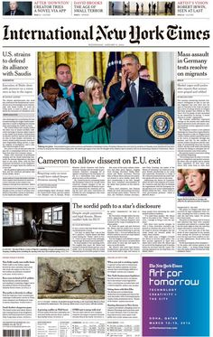"""""""Wednesday's International NY Times U. strains to defend its alliance with Saudis New Times, New York Times, David Brooks, International News, Bbc, The Creator, January 2016, Wednesday, Twitter"""