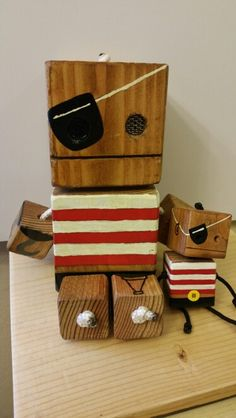 Pirate + mini pirate - wood toy, natural wood, wood robot, DIY toy #woodtoy