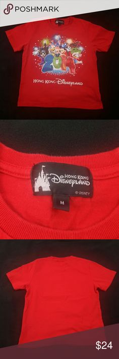 """Disneyland Hong Kong TShirt 2014 Disneyland Hong Kong  Kid's Size: M  Gently used with no flaws.  Measurements lying flat: Shoulder to Shoulder 14"""", Armpit to Armpit 16"""", Sleeve's Length 6.5"""", Length 19"""".  Please, review pictures. You will get the item shown. Smoke & pet free home. Disney Shirts & Tops Tees - Short Sleeve"""