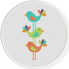 Handmade Unframed Birds Stacked Cross Stitch by CustomCraftJewelry
