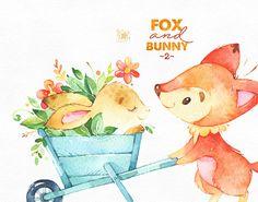 Zorro y conejo 2. Amigos y flores acuarelas animal clipart