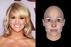 Carrie Underwood: Dont be fooled by her hidden forehead-Underwood has a Long face shape under those wide tresses. Celebrity Faces, Great Hair, Awesome Hair, Square Faces, Long Faces, Hair Affair, Carrie Underwood, Face Shapes, Cute Hairstyles