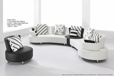 VIG Furniture Contemporary Sectional Sofa Set with a Round Chair White Leather Sofa Set, Modern Leather Sofa, Corner Sectional Sofa, Leather Sectional Sofas, Modern Sectional, Couch, Curved Sofa, Selling Furniture, Living Room Sofa
