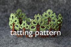 Trees edging  shuttle tatting pattern in PDF by