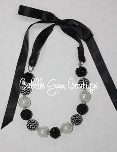 Black and Silver Chevron with pearls $15  #bubblegumboutiquefl