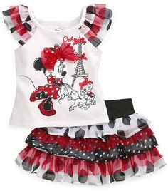The perfect Nannette Baby Girls' 2-Piece Minnie Mouse Top & Scooter Skirt for Disney!
