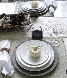 "DIY reversible Table runner ""give thanks""... fall modern country place setting tablescape"
