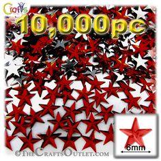 10000-pc Acrylic foil Flatback Star shape Rhinestones 6mm Devil Red Wine