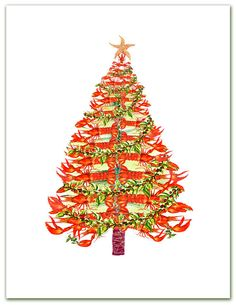 Nautical Christmas cards Lobster tree 10 per boxed by ShirleyBell, $13.50