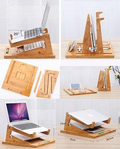 Apple Macbook Air Folding Laptop Tablet Bamboo Desktop Stand Holder Bracket With Base for MacBook Air Pro Notebook Laptops PC Diy Laptop Stand, Wooden Laptop Stand, Laptop Desk For Bed, Hp Laptop, Laptop Case, Laptop Skin, Diy Projects Apartment, Diy Furniture Projects, Diy Wood Projects