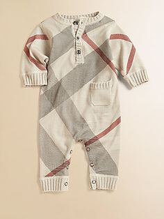 Burberry Infant's Cashmere-Blend Check Coverall so sad carter grew out of this :( Baby Boy Fashion, Toddler Fashion, Kids Fashion, Baby Boy Outfits, Kids Outfits, Bebe Love, Baby Boy Swag, Baby Boys, Baby Needs