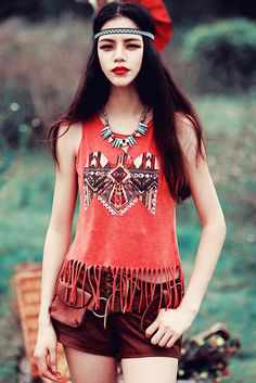 70's Boho Printed Tassel Tank Top In Red. Free first class word wide shipping. Customer service: help@moooh.net