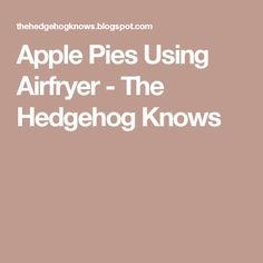 Apple Pies Using Airfryer - The Hedgehog Knows