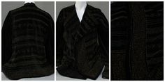Happy Fashion Friday Everyone! Today's gorgeous piece is a black velvet jacket hand beaded with gold and black seed beads in varying patterns. The inside is lined with white silk and the jacket has fantastic mutton sleeves and an open front that does not fasten shut. Though the donor is unfortunately unknown, this piece is known to have been worn in and around the year 1864. To see artifacts like this and many other artifacts too, visit us at the Huron County Museum and Historic Gaol! Huron County, Black Velvet Jacket, Black Seed, White Silk, Seed Beads, Friday, Beautiful Women, Museum, Patterns
