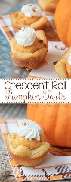 Crescent Roll Pumpkin Tarts - wonderful for guests this fall! Fluffy pumpkin filling inside crescent roll mini shells and topped with sweet whipped cream! Thanksgiving Recipes, Holiday Recipes, Great Recipes, Favorite Recipes, Vegetarian Thanksgiving, Winter Recipes, Holiday Desserts, Christmas Recipes, Yummy Recipes